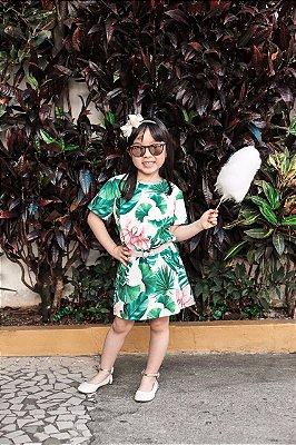 SALE | Vestido Crepe Estampa Folhas Tropical Blessinha