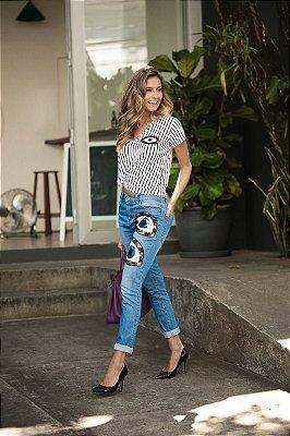 SALE | Calça Jeans Olho Bordado