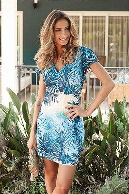 LANÇAMENTO | Vestido Estampa Folhagem Azul Amarração
