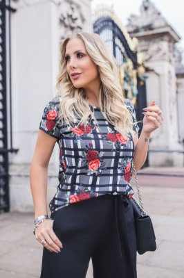 LONDON COLLECTION | Blusa Estampa Xadrez Roses