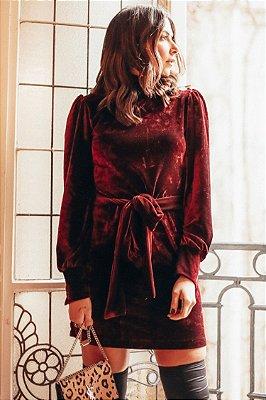 PARIS COLLECTION | Vestido Velvet Amarração Vinho