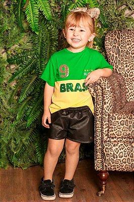 WORLD CUP   Blusa Blessinha Verde/Amarela Brasil