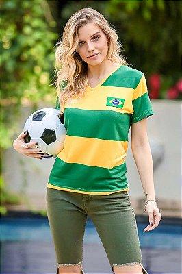 World Cup  |  Blusa Listrada Verde/Amarelo Brasil Retrô