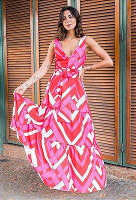 SPRING PREVIEW | Vestido Longo Pink Geometric