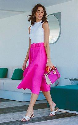 SPRING PREVIEW | Saia Midi Pink Detalhe Cinto