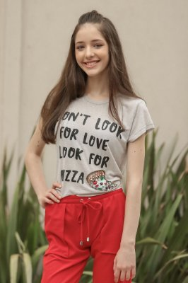 SPRING PREVIEW | Blusa Teen Pizza Bordada