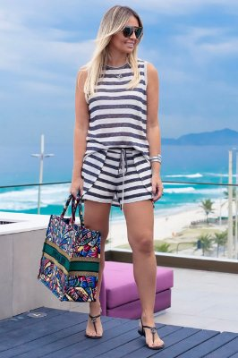 SPRING PREVIEW | Conjunto Regata/Short Listrado Preto