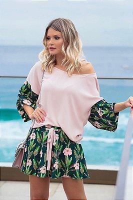 SPRING PREVIEW | Conjunto Blusa/Short Estampa Flower Pink