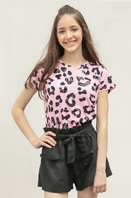 SPRING PREVIEW | Blusa Teen Estampa Jaguar Pink Mouth Bordada