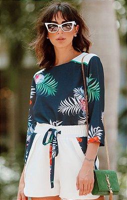 TULUM COLLECTION | Conjunto Blusa/Shorts Flores Tropicais