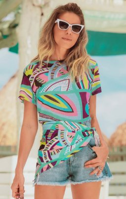 TULUM COLLECTION | Blusa Estampa Colorful Geometric