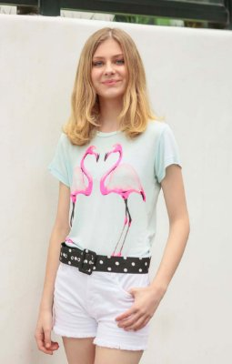 TULUM COLLECTION | Blusa Podrinha Teen Flamingo