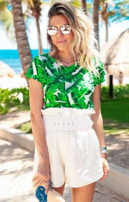 TULUM COLLECTION | Blusa Estampa Green Garden