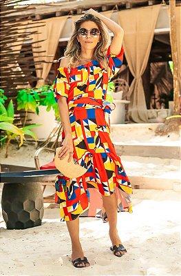 SUMMER PARADISE | Vestido Cigana Estampa Toucan Geometric