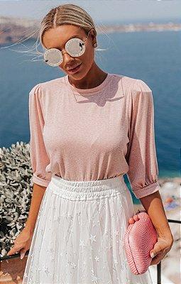 SANTORINI | Blusa Santorini Rose Manga Bufante