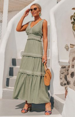 SANTORINI | Vestido Longo Mar Egeu