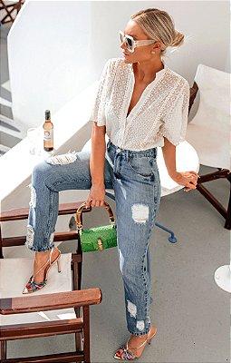 SANTORINI | Calça Jeans Destroyed Rasgos