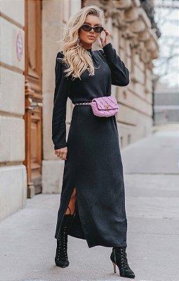 L'AMOUR COLLECTION | Vestido Longue Noir Canelado