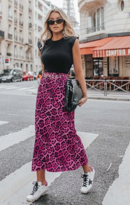 L'AMOUR COLLECTION | Saia Midi Animal Print Valerie