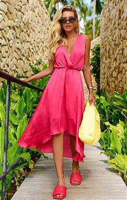 Vestido Hélene Midi Pink | RIVIERA FRANCESA