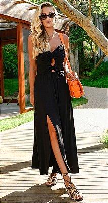 Vestido Anelise Laços Frontal Black | RIVIERA FRANCESA