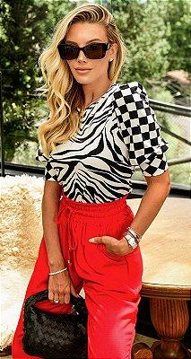 Blusa Zebra P&B Marcela Manga Bufante | DNA Blessed