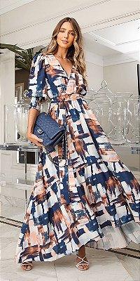 Vestido Longo Estampado Taíssa | DNA Blessed