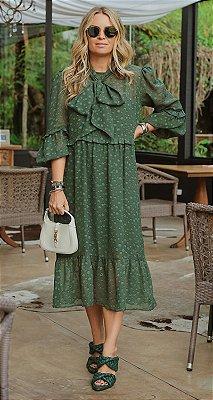 Vestido Midi Babados Poá Adriana | WINTER BLESSED