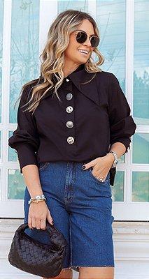 Camisa Tricoline Mix de Botões Lucia Preto| WINTER BLESSED