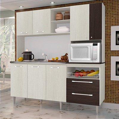 Cozinha Compacta Jade 7 Portas 2 Gavetas Nicho para Microondas - Kits Paraná