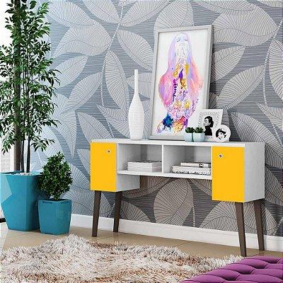 Bancada Para Tv E Aparador 2 Portas Branco C/ Amarelo -  Albatroz