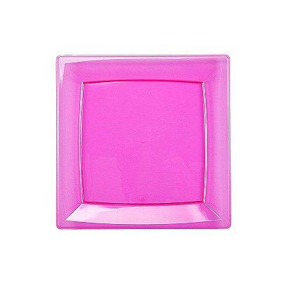 Prato Plástico Quadrado Rosa