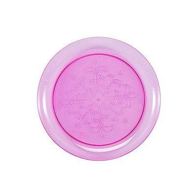 Prato Plástico Redondo Rosa