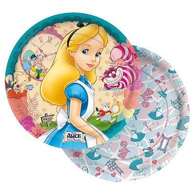 Prato Descartável Alice no País das Maravilhas
