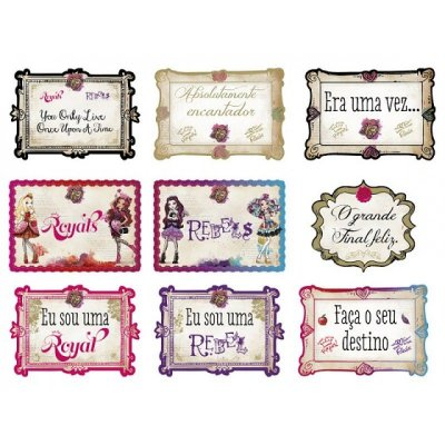 Kit Plaquinhas - Ever After High - 02 pacotes