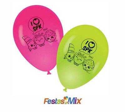 Balão Latex 9 Polegadas - Shopkins - 25 Unidades