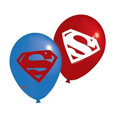 Balão Látex 9 Polegadas -  Superman - 25 unidades