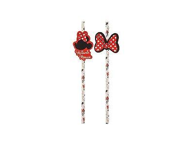 Canudo de Papel - Minnie Mouse Vermelha- 08 unidades
