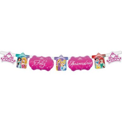 Faixa Feliz Aniversário Princesas