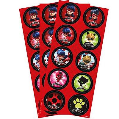 Adesivo Redondo - Ladybug - 03 cartelas