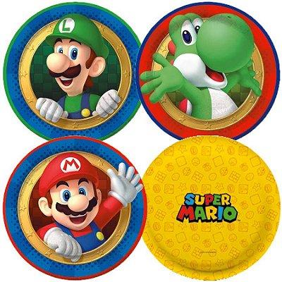 Prato de Papel - Super Mario Bros - 08 unidades