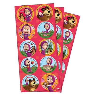 Adesivo Redondo -  Masha e o Urso - 03 cartelas