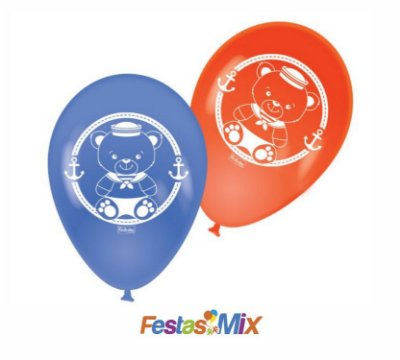 Balão Latex 9 Polegadas - Ursinho Marinheiro - 25 unidades