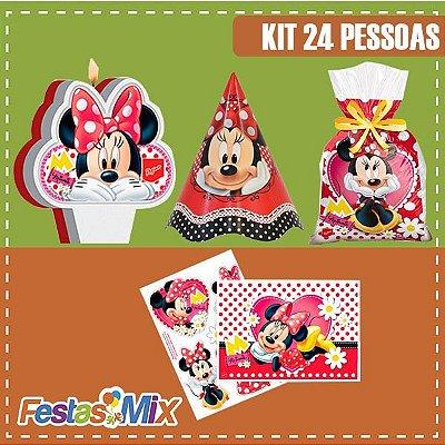 Kit Festa Minie Mouse Vermelha - 24 pessoas