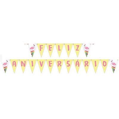 Faixa de Feliz Aniversario Decorativa - Festa Tropical