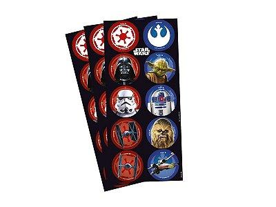 Adesivo Redondo - Star Wars Clássico - 03 cartelas