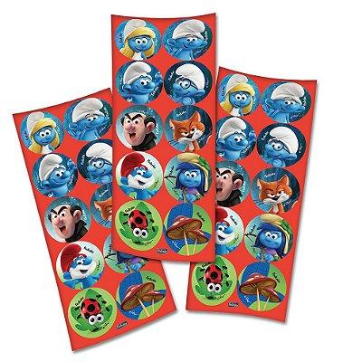 Adesivo Redondo Smurfs - 03 Cartelas