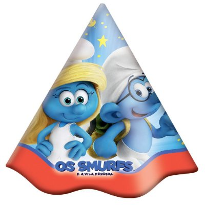 Chapéu de Aniversário Smurfs 08 unidades