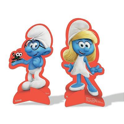 Enfeite Decoração de Mesa Smurfs- 08 unidades