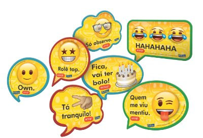 Kit Plaquinhas Decorativas - Emojis - 09 unidades